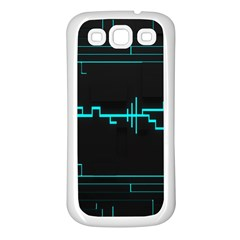 Blue Aqua Digital Art Circuitry Gray Black Artwork Abstract Geometry Samsung Galaxy S3 Back Case (white)