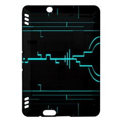 Blue Aqua Digital Art Circuitry Gray Black Artwork Abstract Geometry Kindle Fire HDX Hardshell Case