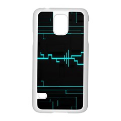 Blue Aqua Digital Art Circuitry Gray Black Artwork Abstract Geometry Samsung Galaxy S5 Case (White)
