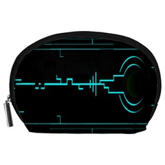 Blue Aqua Digital Art Circuitry Gray Black Artwork Abstract Geometry Accessory Pouches (Large)