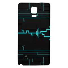 Blue Aqua Digital Art Circuitry Gray Black Artwork Abstract Geometry Galaxy Note 4 Back Case