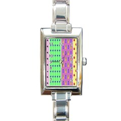 Eye Coconut Palms Lips Pineapple Pink Green Red Yellow Rectangle Italian Charm Watch