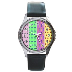 Eye Coconut Palms Lips Pineapple Pink Green Red Yellow Round Metal Watch