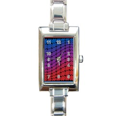 Colorful Red & Blue Gradient Background Rectangle Italian Charm Watch