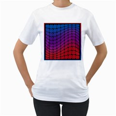 Colorful Red & Blue Gradient Background Women s T Shirt (white) (two Sided)