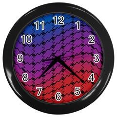 Colorful Red & Blue Gradient Background Wall Clocks (Black)