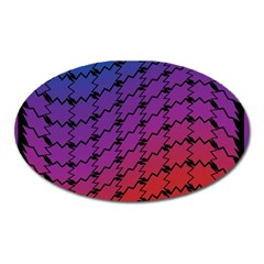 Colorful Red & Blue Gradient Background Oval Magnet