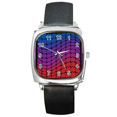 Colorful Red & Blue Gradient Background Square Metal Watch