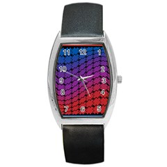 Colorful Red & Blue Gradient Background Barrel Style Metal Watch