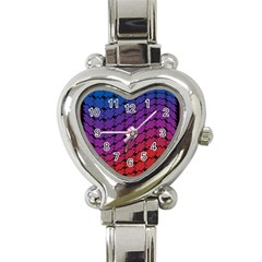Colorful Red & Blue Gradient Background Heart Italian Charm Watch