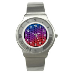 Colorful Red & Blue Gradient Background Stainless Steel Watch