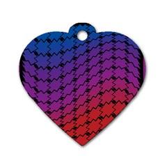 Colorful Red & Blue Gradient Background Dog Tag Heart (two Sides)