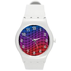 Colorful Red & Blue Gradient Background Round Plastic Sport Watch (M)