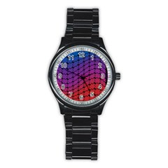 Colorful Red & Blue Gradient Background Stainless Steel Round Watch