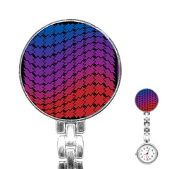 Colorful Red & Blue Gradient Background Stainless Steel Nurses Watch