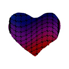 Colorful Red & Blue Gradient Background Standard 16  Premium Flano Heart Shape Cushions