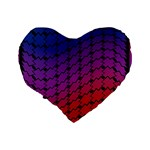 Colorful Red & Blue Gradient Background Standard 16  Premium Flano Heart Shape Cushions Back