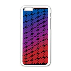 Colorful Red & Blue Gradient Background Apple iPhone 6/6S White Enamel Case