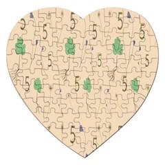 Five Leaf Green Brown Purple Floral Flower Tulip Sunflower Jigsaw Puzzle (heart)
