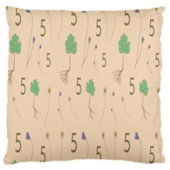 Five Leaf Green Brown Purple Floral Flower Tulip Sunflower Large Cushion Case (two Sides)