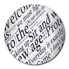 Abstract Minimalistic Text Typography Grayscale Focused Into Newspaper Round Mousepads