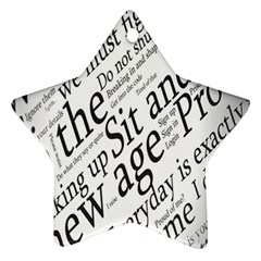 Abstract Minimalistic Text Typography Grayscale Focused Into Newspaper Ornament (star)