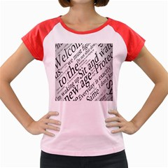 Abstract Minimalistic Text Typography Grayscale Focused Into Newspaper Women s Cap Sleeve T Shirt