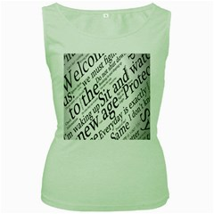 Abstract Minimalistic Text Typography Grayscale Focused Into Newspaper Women s Green Tank Top