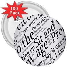 Abstract Minimalistic Text Typography Grayscale Focused Into Newspaper 3  Buttons (100 Pack)