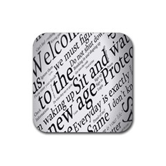 Abstract Minimalistic Text Typography Grayscale Focused Into Newspaper Rubber Square Coaster (4 pack)