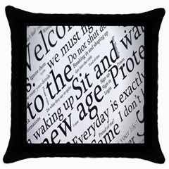 Abstract Minimalistic Text Typography Grayscale Focused Into Newspaper Throw Pillow Case (Black)