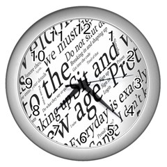 Abstract Minimalistic Text Typography Grayscale Focused Into Newspaper Wall Clocks (silver)