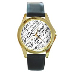 Abstract Minimalistic Text Typography Grayscale Focused Into Newspaper Round Gold Metal Watch