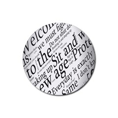 Abstract Minimalistic Text Typography Grayscale Focused Into Newspaper Rubber Coaster (round)