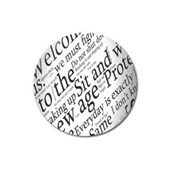 Abstract Minimalistic Text Typography Grayscale Focused Into Newspaper Magnet 3  (Round)