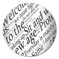 Abstract Minimalistic Text Typography Grayscale Focused Into Newspaper Magnet 5  (Round)