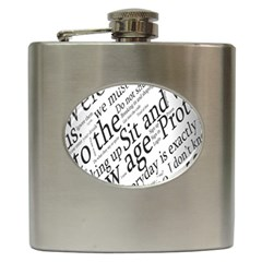 Abstract Minimalistic Text Typography Grayscale Focused Into Newspaper Hip Flask (6 oz)