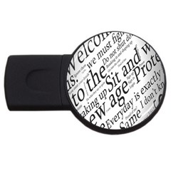 Abstract Minimalistic Text Typography Grayscale Focused Into Newspaper USB Flash Drive Round (1 GB)