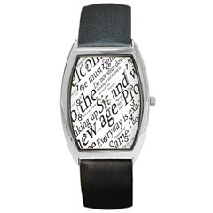 Abstract Minimalistic Text Typography Grayscale Focused Into Newspaper Barrel Style Metal Watch