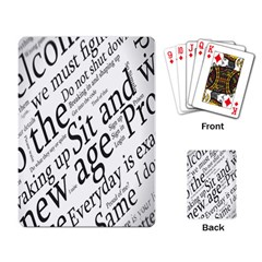 Abstract Minimalistic Text Typography Grayscale Focused Into Newspaper Playing Card