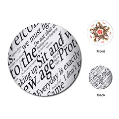 Abstract Minimalistic Text Typography Grayscale Focused Into Newspaper Playing Cards (Round)
