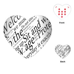 Abstract Minimalistic Text Typography Grayscale Focused Into Newspaper Playing Cards (Heart)