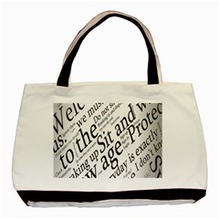Abstract Minimalistic Text Typography Grayscale Focused Into Newspaper Basic Tote Bag