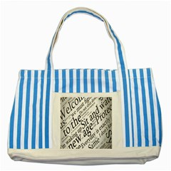Abstract Minimalistic Text Typography Grayscale Focused Into Newspaper Striped Blue Tote Bag
