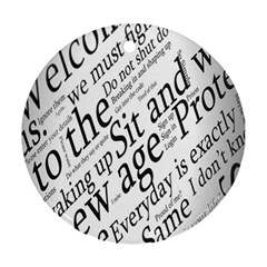 Abstract Minimalistic Text Typography Grayscale Focused Into Newspaper Round Ornament (Two Sides)