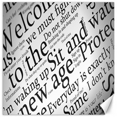 Abstract Minimalistic Text Typography Grayscale Focused Into Newspaper Canvas 20  X 20