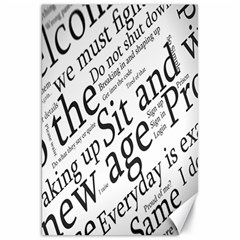 Abstract Minimalistic Text Typography Grayscale Focused Into Newspaper Canvas 20  X 30