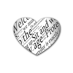 Abstract Minimalistic Text Typography Grayscale Focused Into Newspaper Rubber Coaster (Heart)