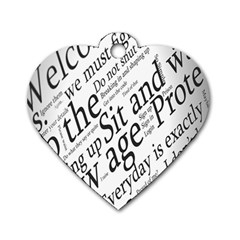 Abstract Minimalistic Text Typography Grayscale Focused Into Newspaper Dog Tag Heart (One Side)