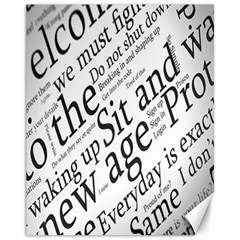 Abstract Minimalistic Text Typography Grayscale Focused Into Newspaper Canvas 11  X 14